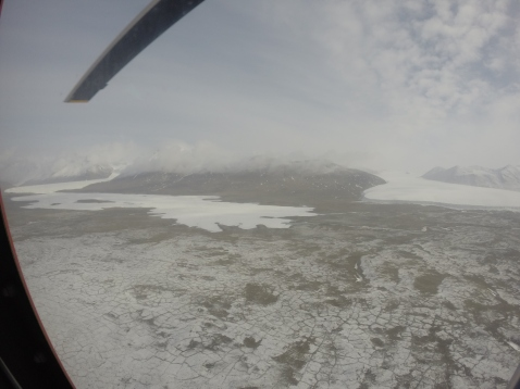 We were surprised to see so much snow covering the valley floor on Saturday. It's a rare sight this late in the season. From this view, you can see Lake Fryxell as we fly up valley. Photo: Ashley Shaw